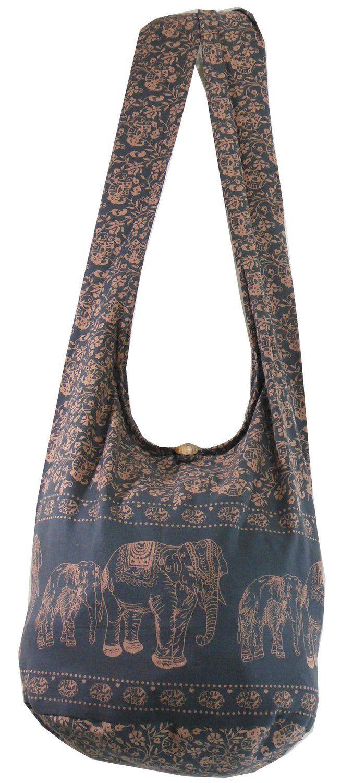 Amazon.com  Dark Gray Hippie Boho Vintage Elephant Sling Cross body Shoulder  Messenger Bag EA06  Clothing e0deca3b2f0d3