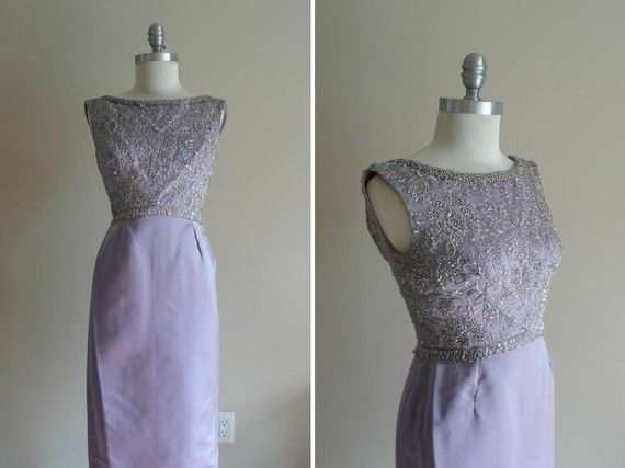 Vintage 1960s Formal Beaded Evening Dress Made In The British