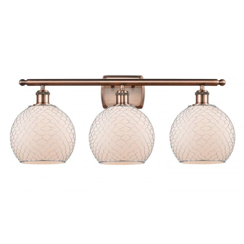 Photo of Innovations Lighting 516-3W Farmhouse Chicken Wire Farmhouse Chicken Wire 3 Ligh Antique Copper / White / Nickel Indoor Lighting Bathroom Faucets