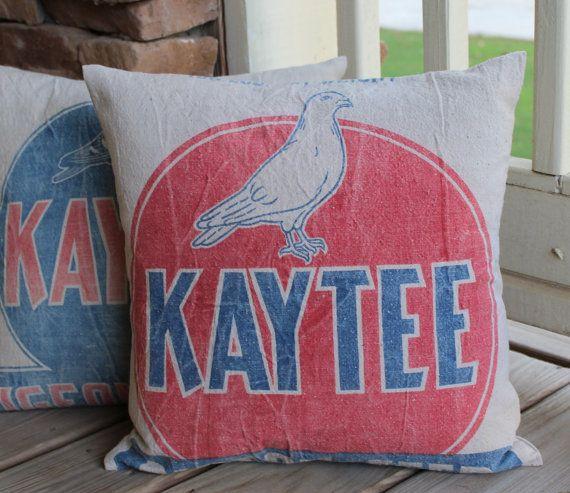 Vintage Feed Sack Pillow - Grain Sack Pillow - Kaytee ...