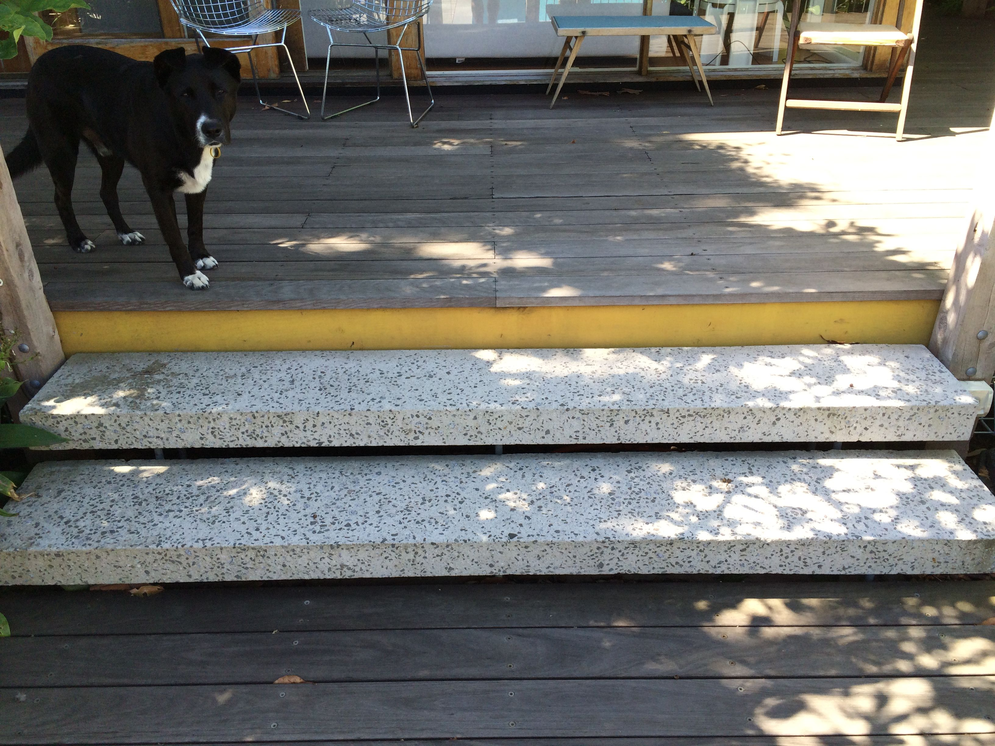 Concrete Stair Treads Each Held By 6x20mm Threaded Rods Each Pair Kemset  Into A Single Footing
