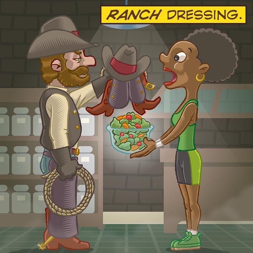 Ranch Dressing Just4pun Puns Brooklyn Cartoon Draw Punny Illustration Laughing Art Humor Dadj Ranch Salad Dressing Cartoon Drawings Ranch Dressing