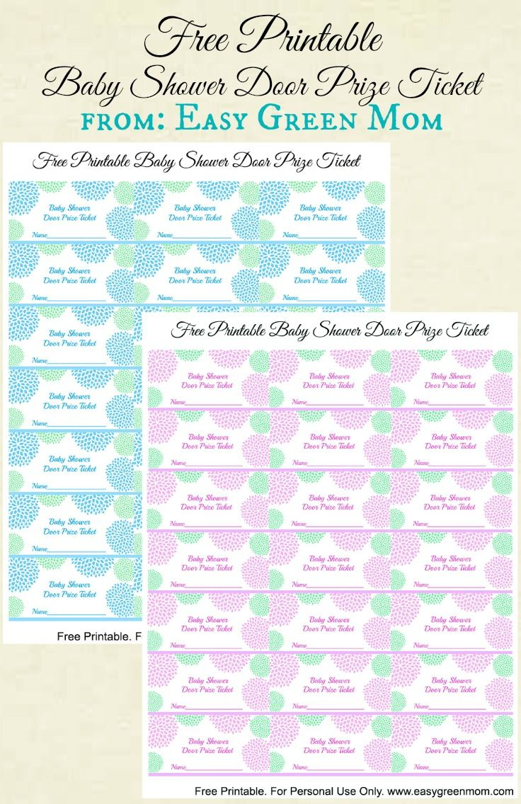 printable baby shower door prize tickets for boy or girl printable baby shower door prize tickets from easy green mom