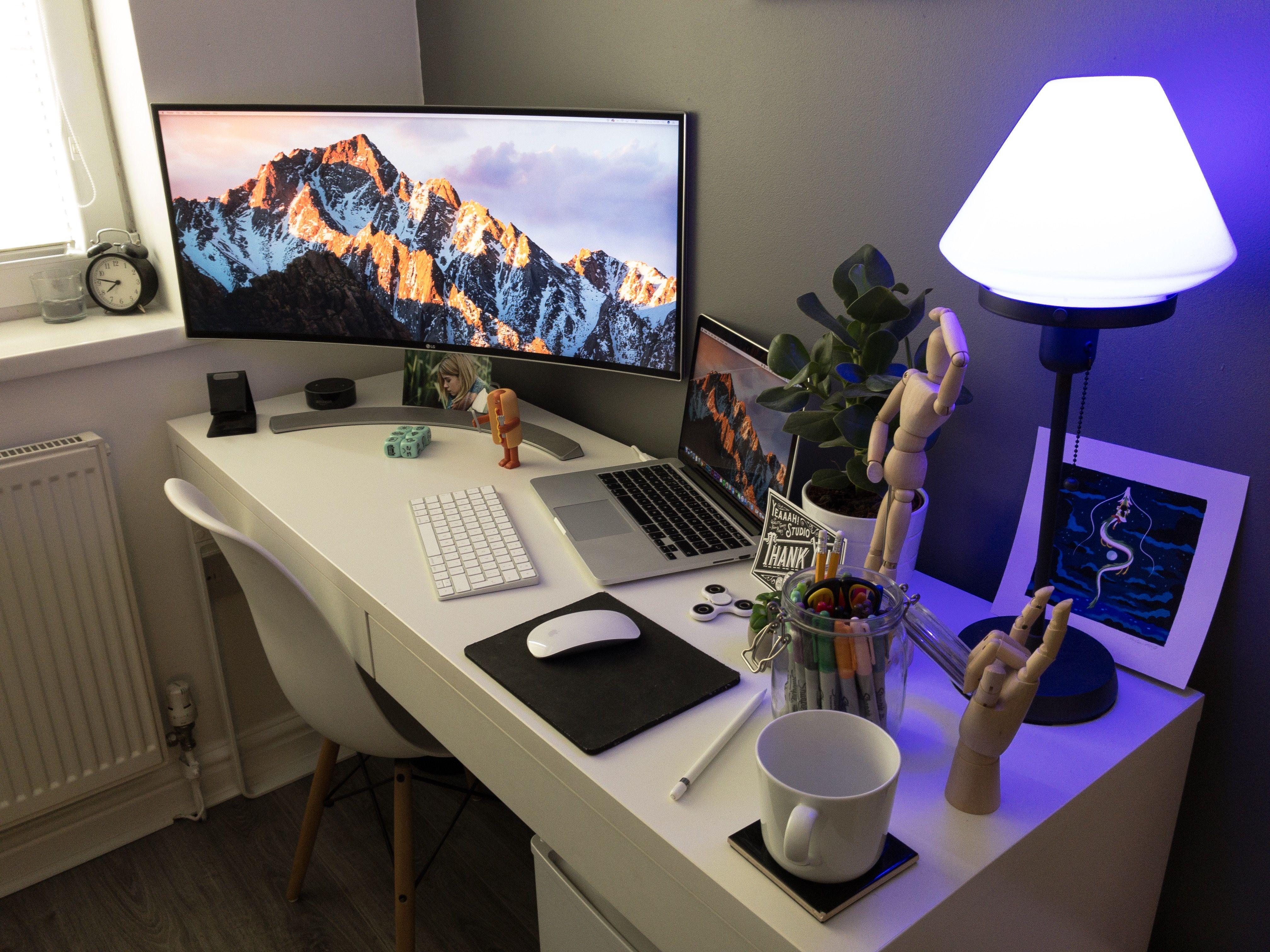 Desk Setup Ultrawide Curved Monitor Macbook Desk Desk Inspiration Work Desk