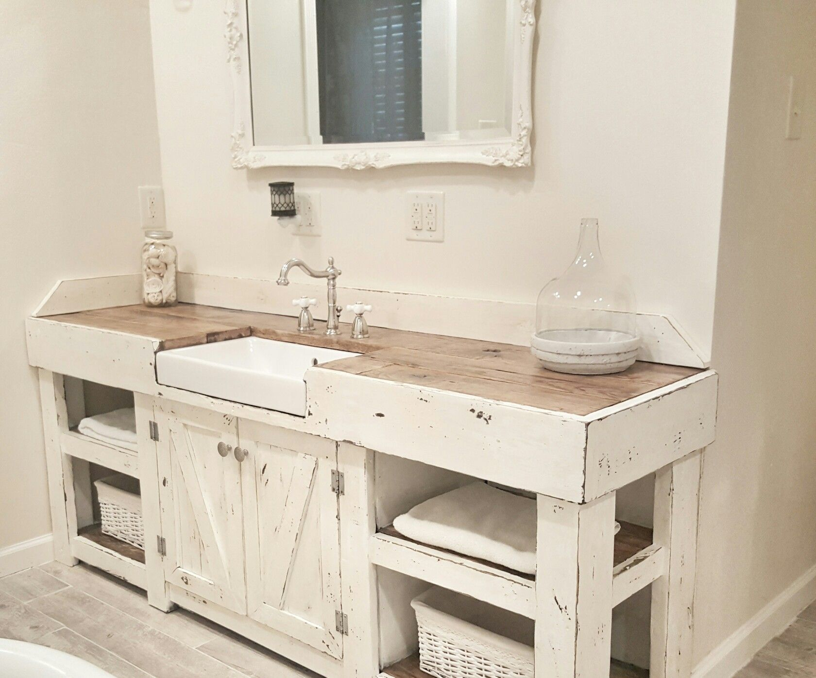 Cottage bathroom farmhouse bathroom farmhouse vanity for Bathroom cabinet sink ideas