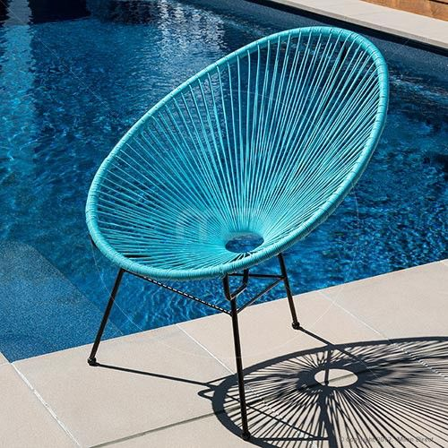 Acapulco Chair Replica Outdoor Wicker Light Blue I