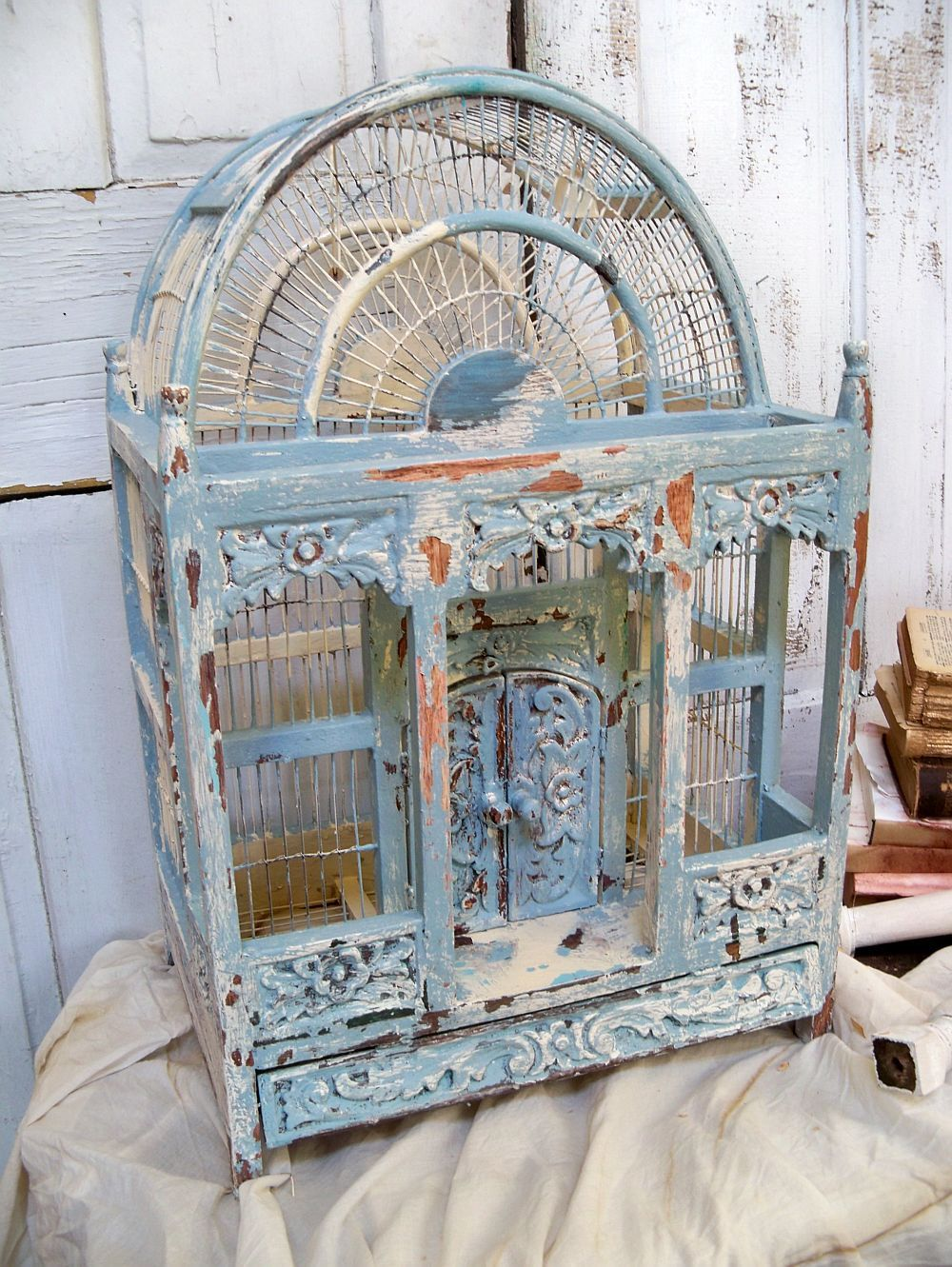 large ornate carved wood birdcage hand painted french blue