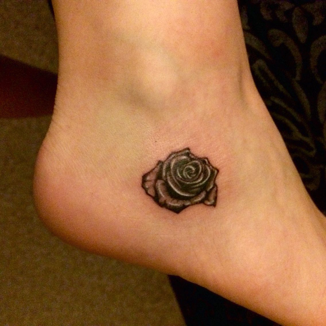 Small Black And White Rose Ankle Tattoo Small Rose Tattoo Rose Tattoo On Ankle Ankle Tattoo