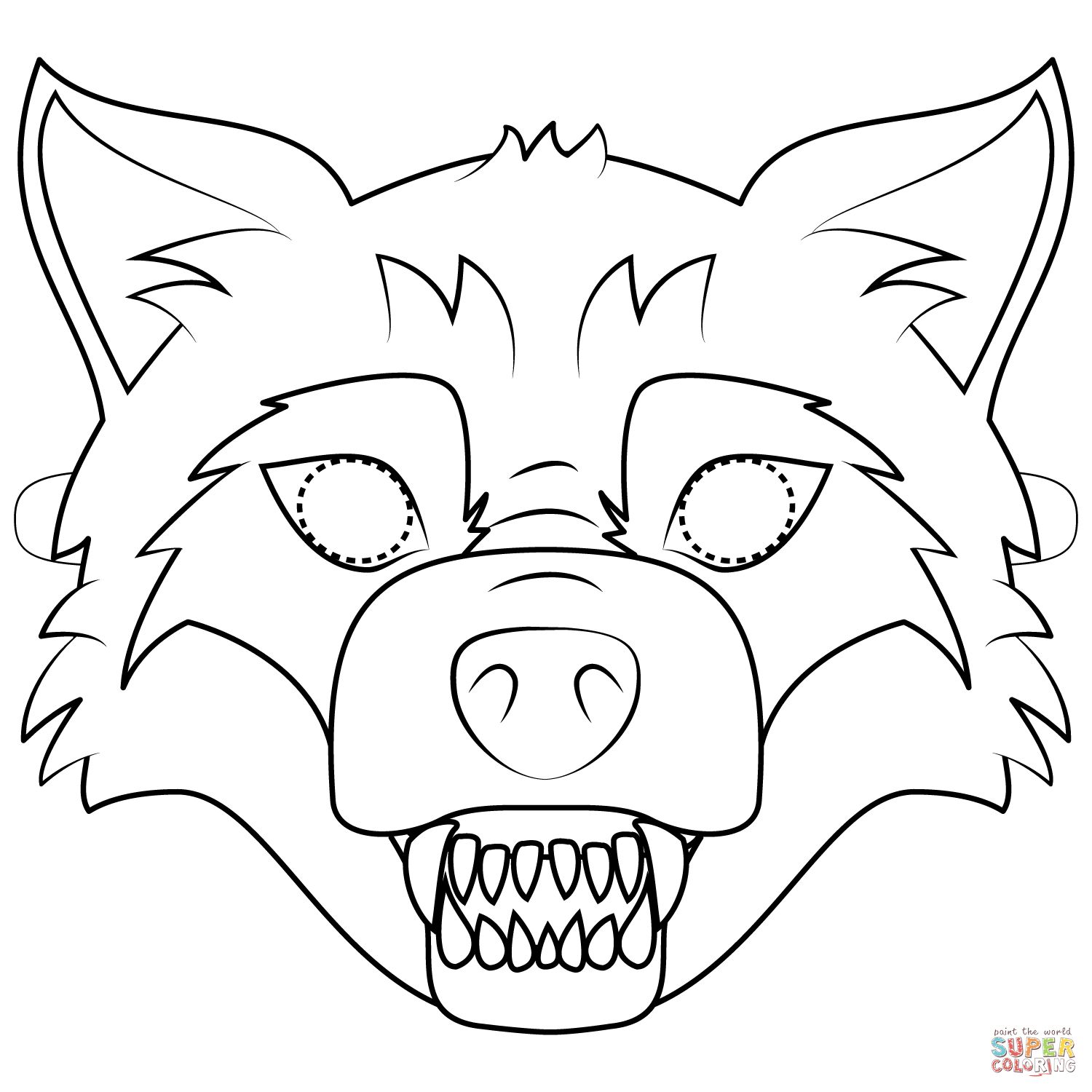 25 Excellent Image Of Mask Coloring Pages Wolf Mask Coloring