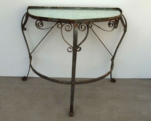 demi lune wrought iron table