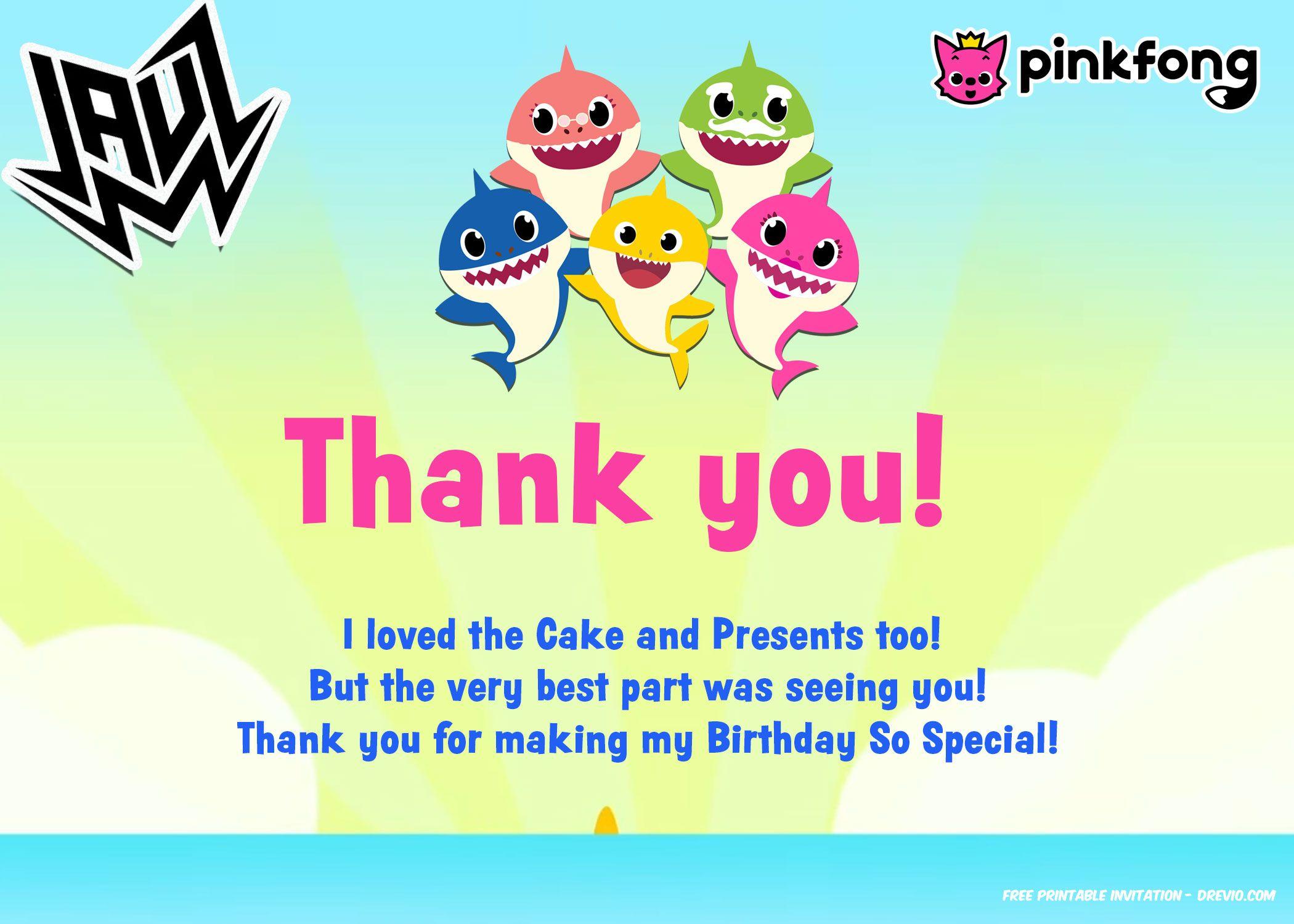 Free 1st Baby Shark Ft Jauz Invitation Templates Thank You Card Baby Shark Free Printable Birthday Invitations Printable Birthday Invitations