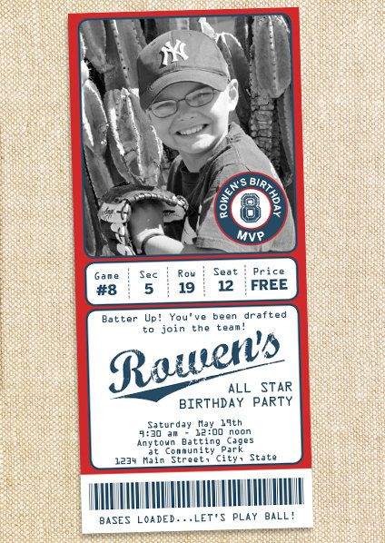 baseball party invitations | blow out the candles | pinterest, Birthday invitations
