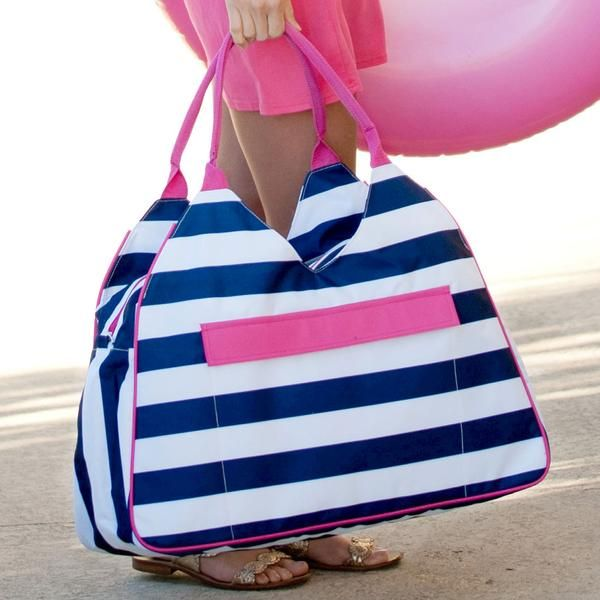 Our Preppy Stripe Monogrammed Beach Bags are preppy in style and nautical in feel and are ready for your beach, pool, lake, and outdoor recreational fun this travel, vacation and summer season! Generously sized, beautifully designed and perfect for a relaxing day at the beach or pool.  www.beaujax.com
