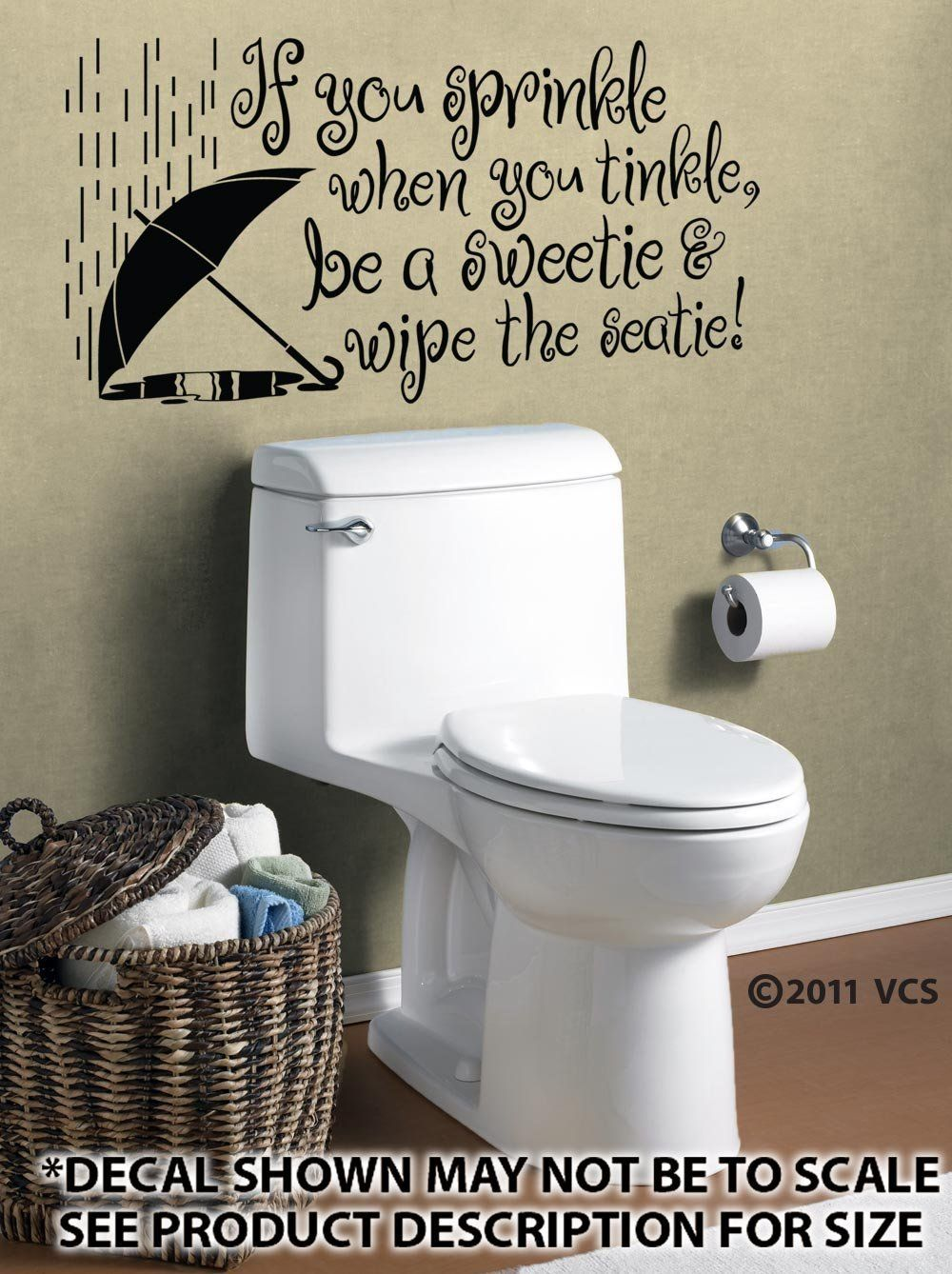 If You Sprinkle When Tinkle Wall Décor Sticker Vinyl Decal Bathroom Housewarming Gift