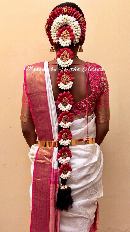 South Indian Bride S Bridal Hairstyle Braids With Fresh Flowers