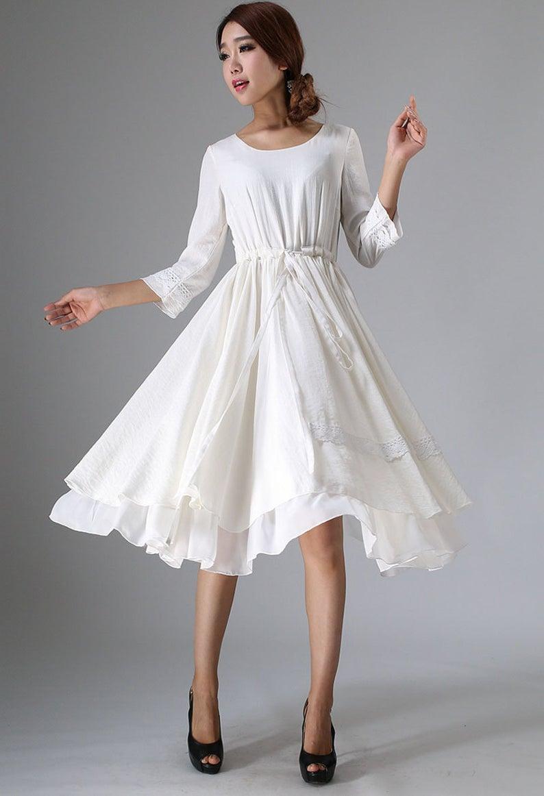 white dress, little white dress, tea length dress, midi