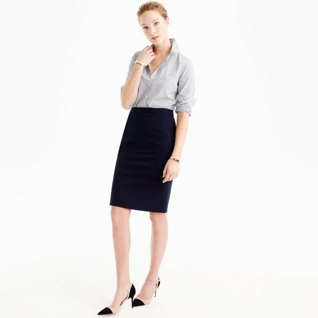 e0022abbac54 J.Crew Petite pencil skirt in two-way stretch cotton | Professional ...