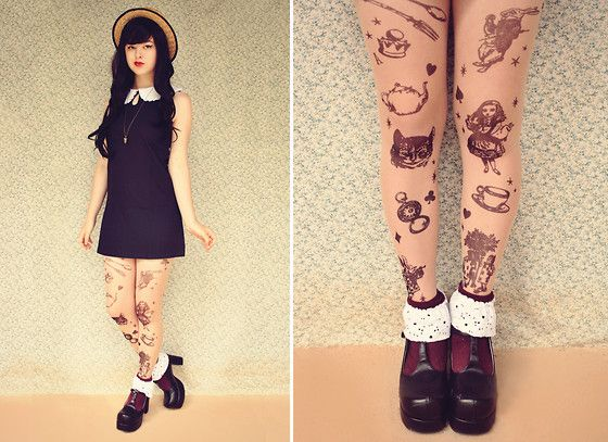 Alice In Wonderland Tattoo Tights, Lolita Shoes, Crochet Collar Shift Dress, Boater Hat, Diy Cuffs