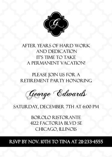 Black And White Formal Retirement Invitation ~ Retirement - Formal Invitation