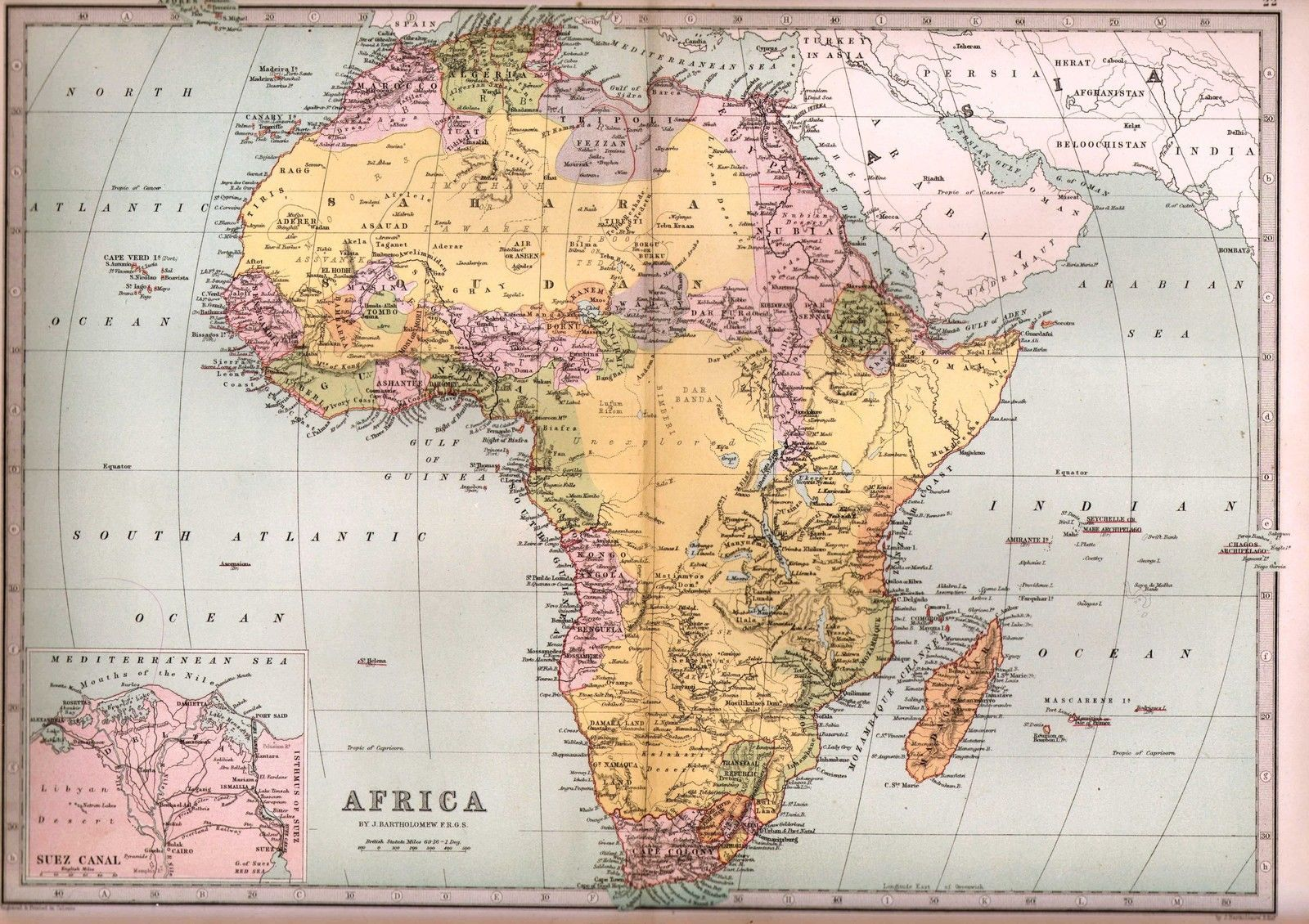 Suez Canal On Africa Map.1875 Victorian Map Africa Suez Canal Sahara Transvaal Cape