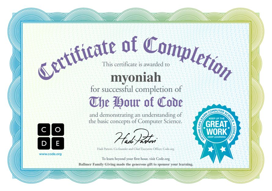 congratulations hour of code coding certificate congratulations