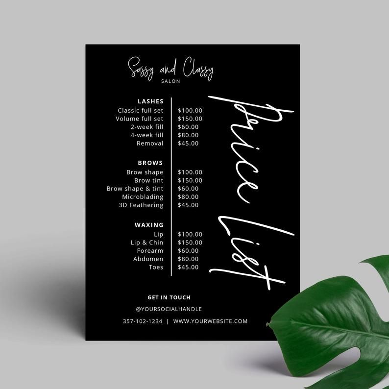 Business Price List Editable Menu Template Printable Price Sheet Salon Price List Beauty Price List Template Diy Price Guide Corjl Printable Menu Template Salon Price List Price List Template