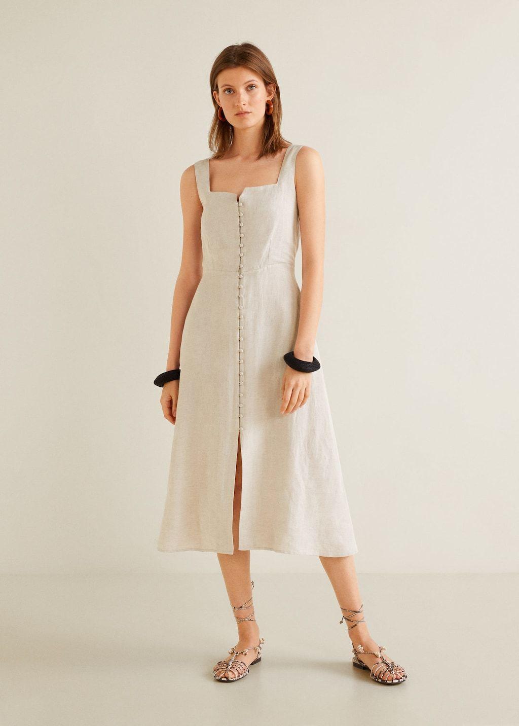Buttoned midi dress - Woman  Mango Ireland  Womens midi dresses