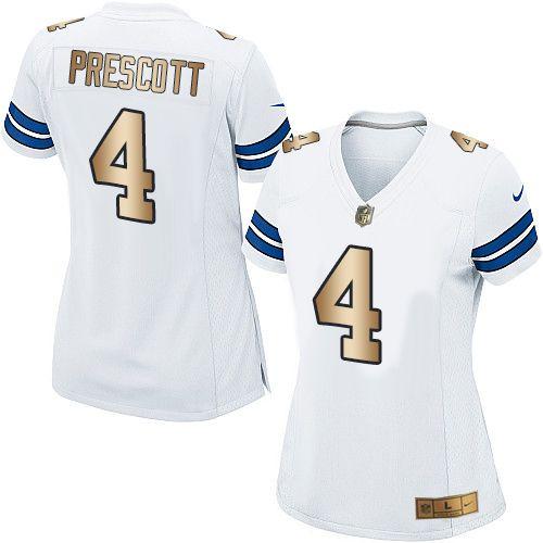 9845d6568ec Nike Dallas Cowboys Women's #4 Dak Prescott Elite White/Gold Road NFL Jersey