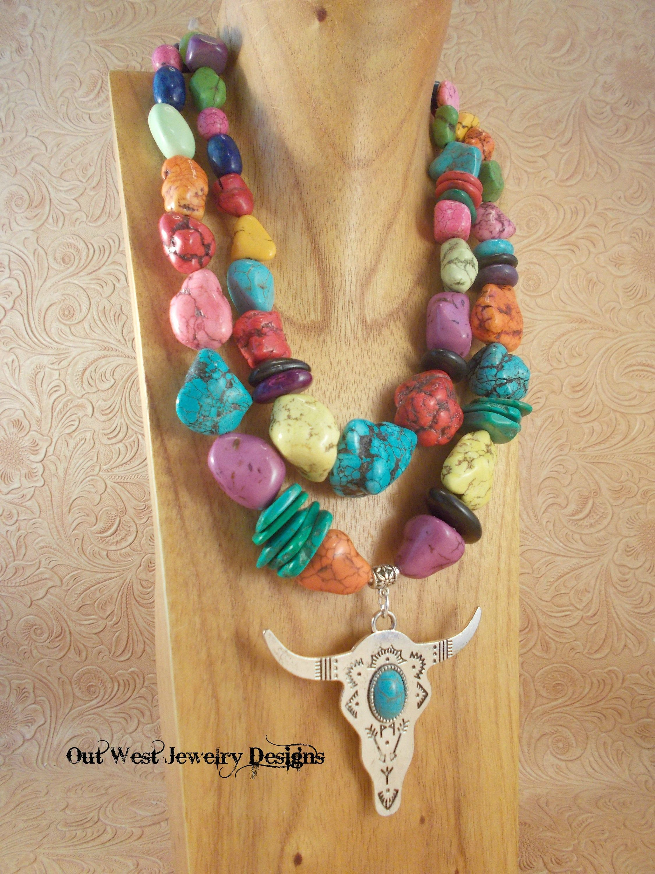 Boho Rodeo Western Cowgirl Statement Necklace Chunky Multicolored Howlite Nuggets with Buffalo Skull Pendant