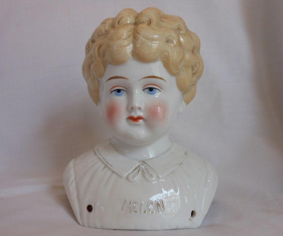 """Helen"""" Pet Name German Glazed Porcelain China Shoulder Head"""