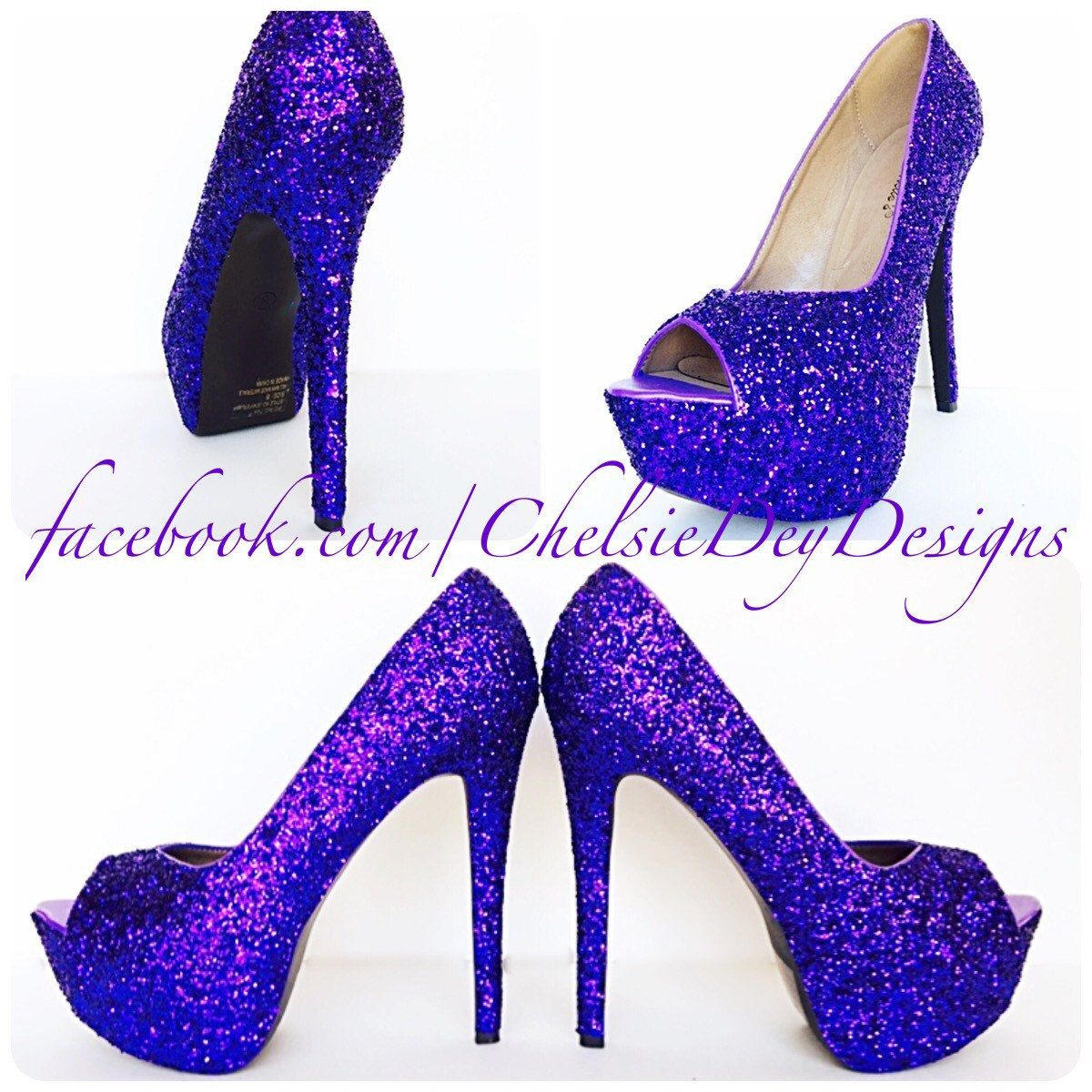 c5234214541e Purple Glitter High Heels - Royal Purple Peep Toe Pumps - Open Toe Wedding  Shoes - Platform Prom Shoes - Bridesmaid Shoes - pinned by pin4etsy.com
