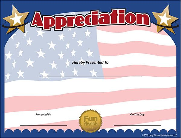 military certificate of appreciation template