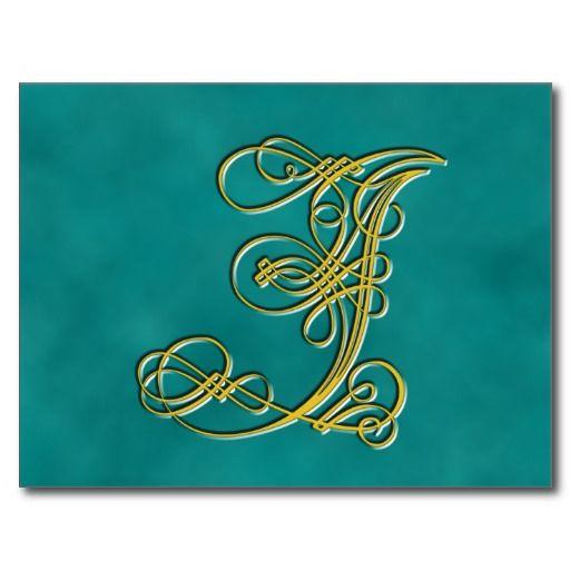 Fancy monogram letter j customize color postcard post