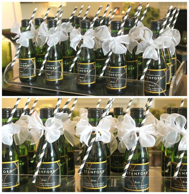 Bridal shower party favors small bottles of champagne with a