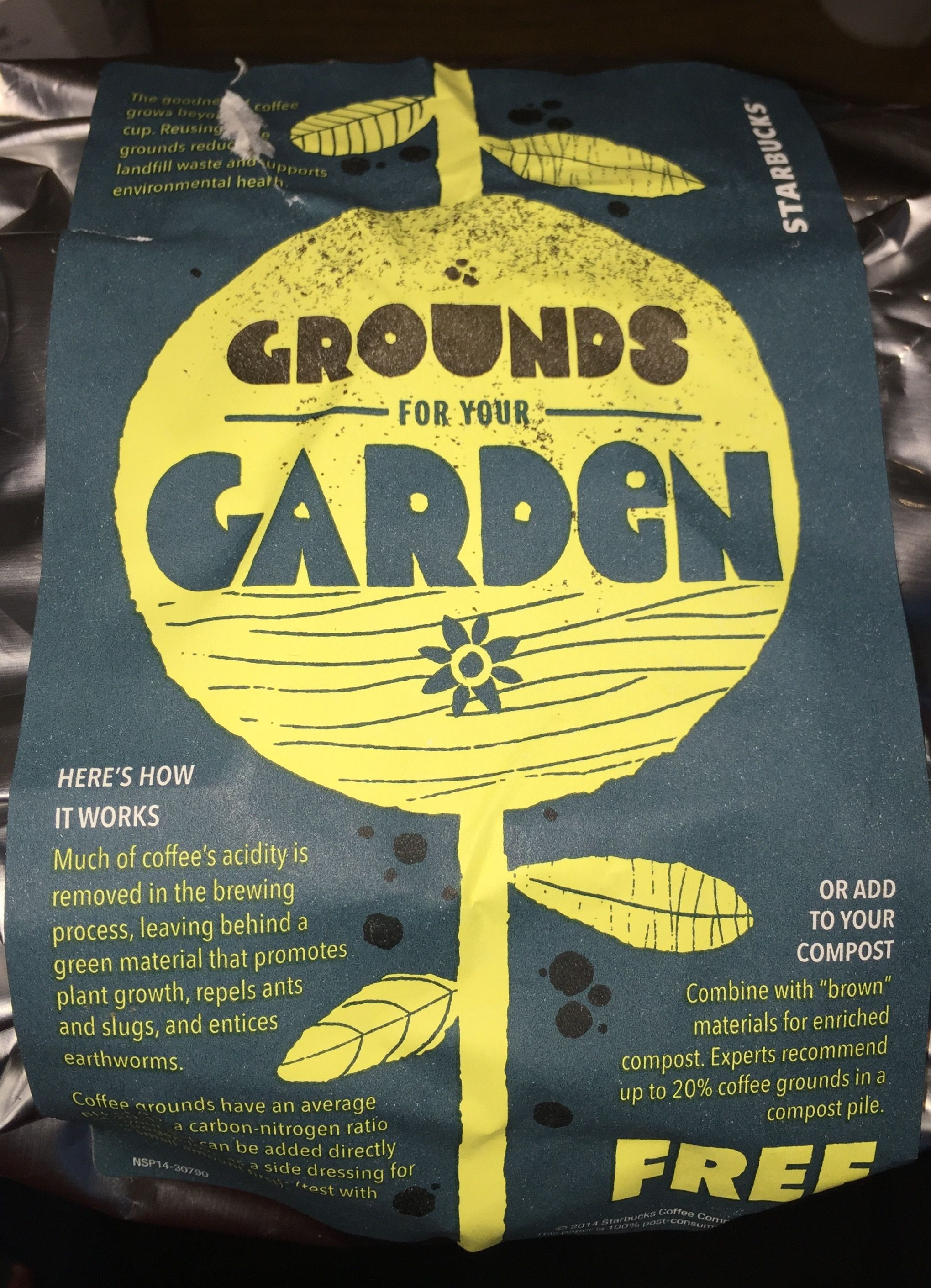 Free coffee grounds from Starbucks for the raised beds