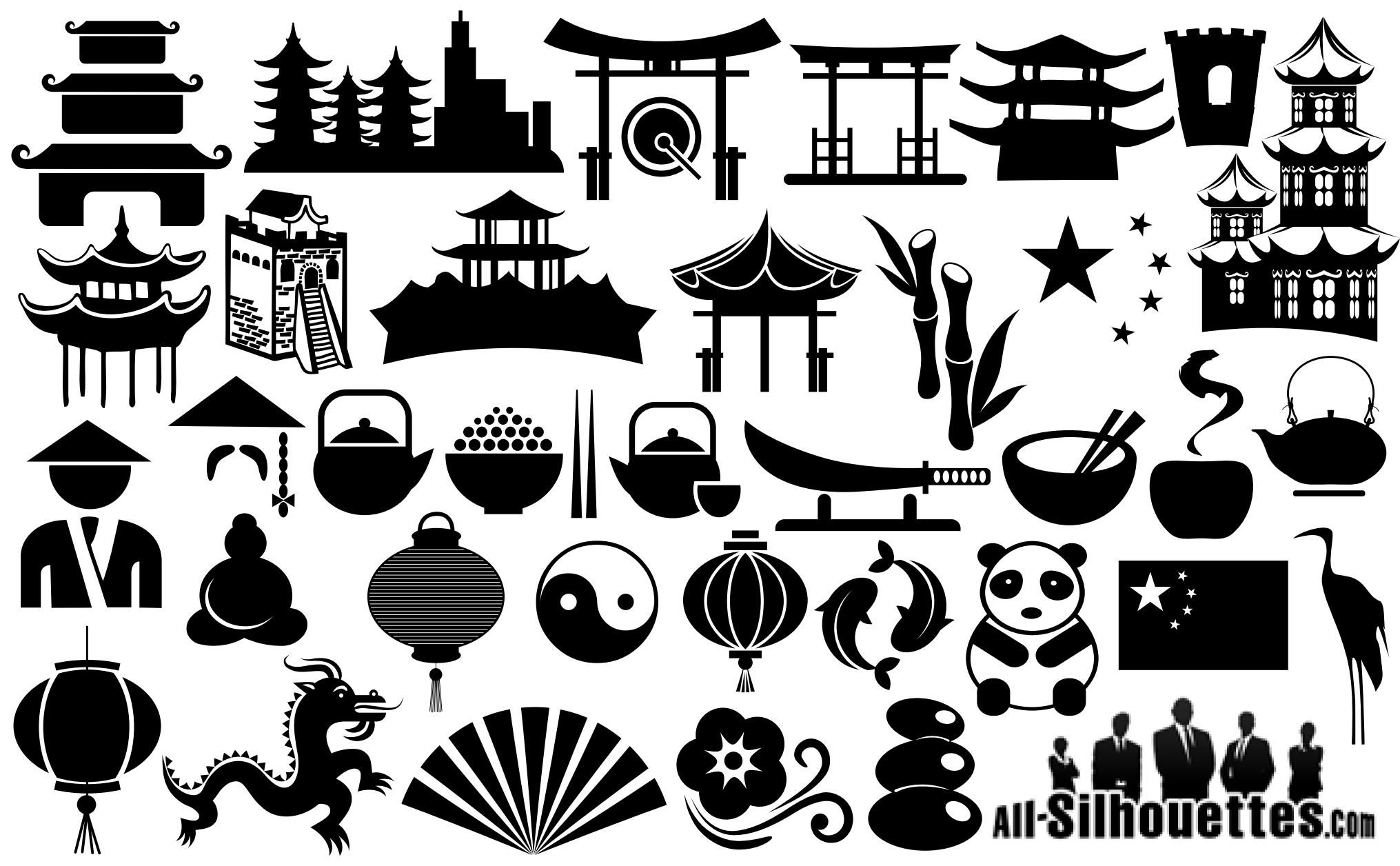 China Symbols Silhouettes Silhouettes Vector Pinterest