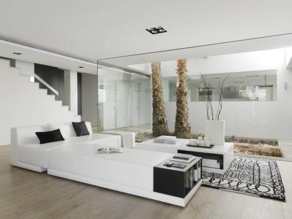 GroB Wohnzimmer Vorschläge Raumgestaltung Trendig Design Wandverglasung Weiße  Wanfarbe