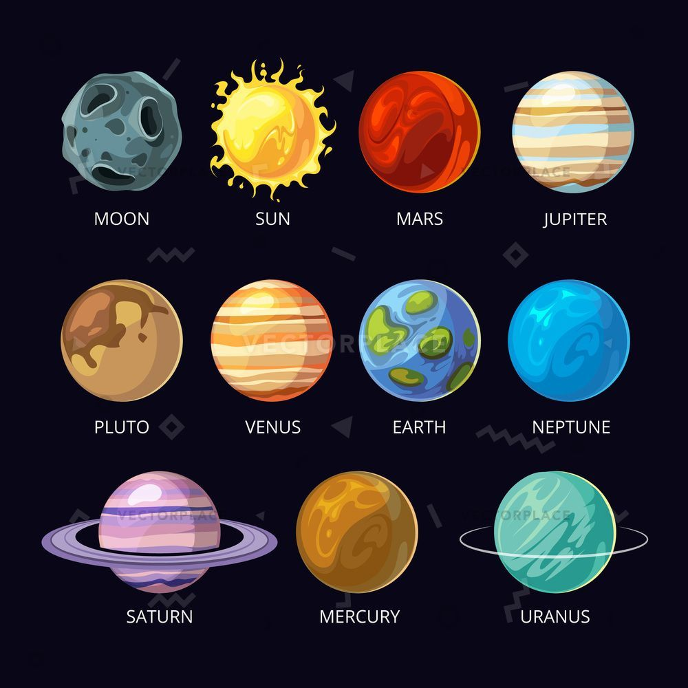 Planets Of Solar System Vector Cartoon Set On Dark Sky Space Background Mars And Pluto Neptune And Solar System Planets Planet Drawing Solar System Painting