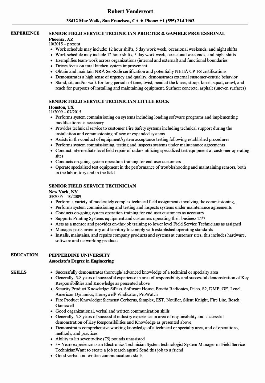 Mechanic Job Description Resume Best Of Senior Field