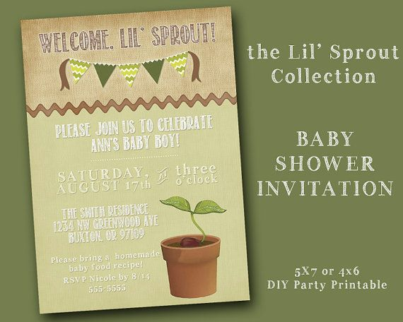 the lil' sprout collection - customized baby shower invitation, Baby shower invitations