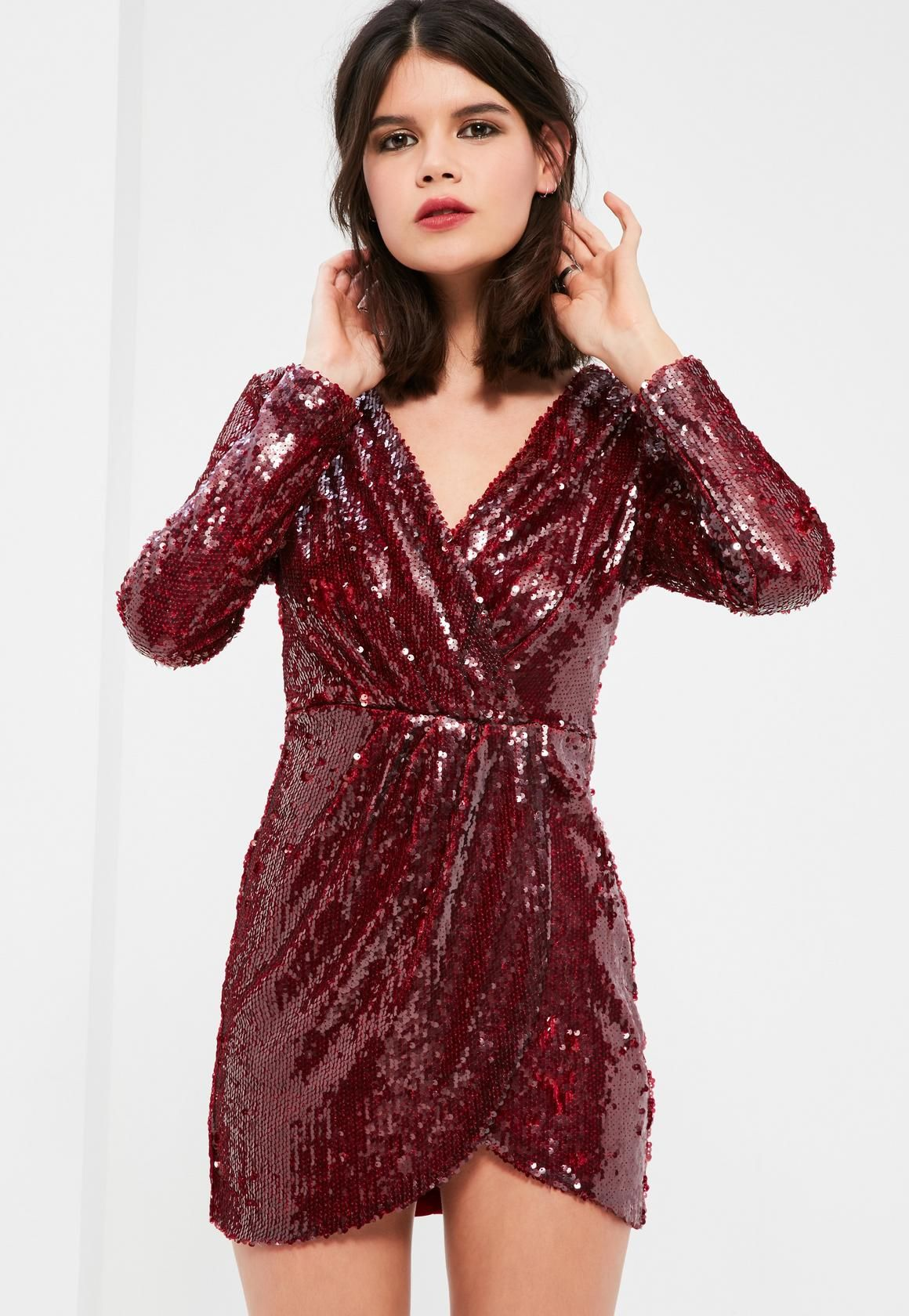 f79b382aa6 Missguided - Petite Exclusive Burgundy Sequin Plunge Wrap Dress ...