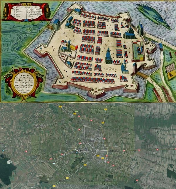 #Zamosc, #Poland #Map: Then(1617) And Now(2016