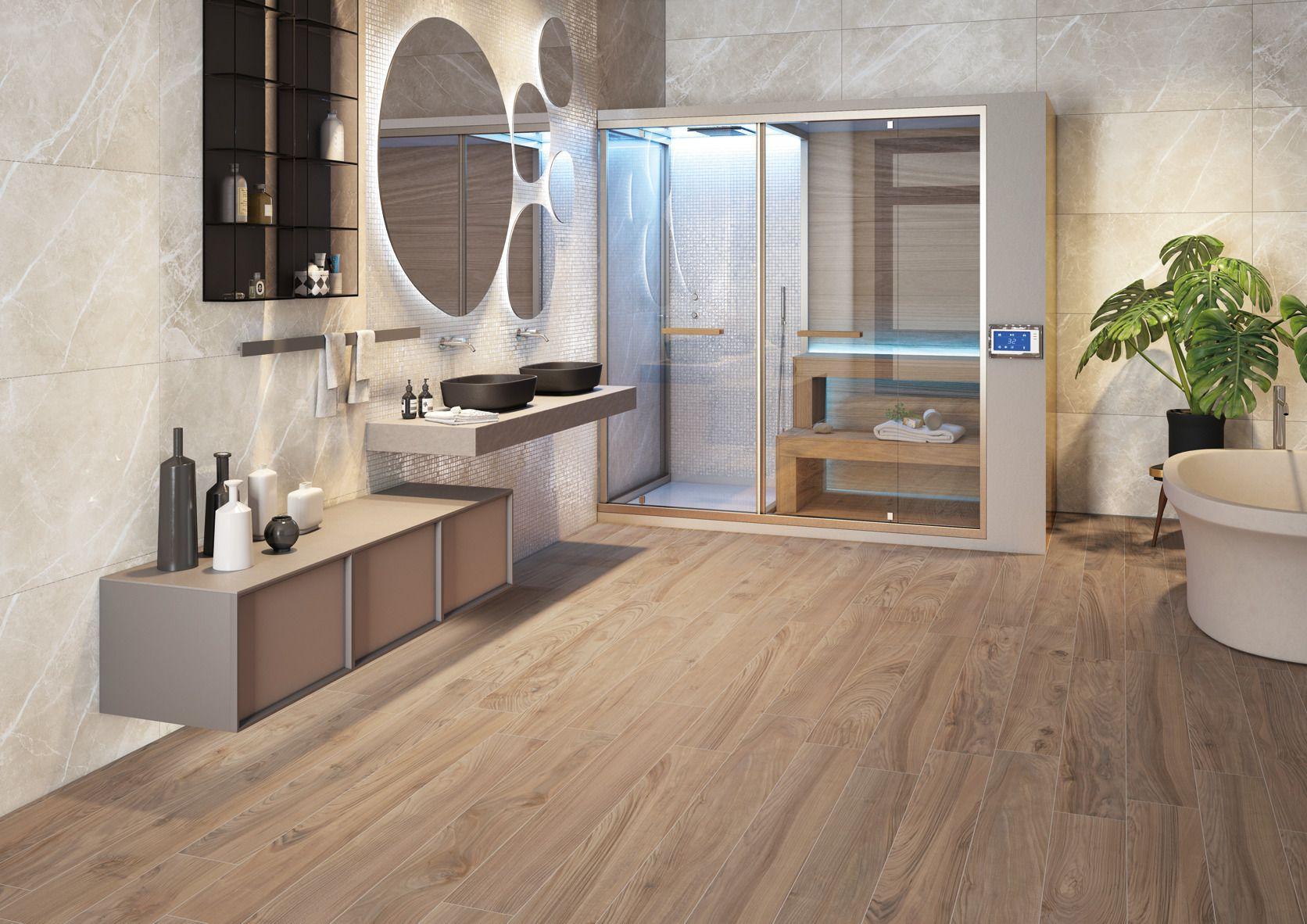 Un bagno moderno che abbina ad un arredo moderno e al