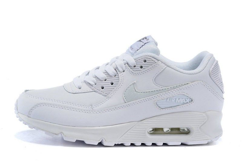 Nike Air Max 90 LTR (GS) Womans Running shoes White/White/Cool Grey 724821-100