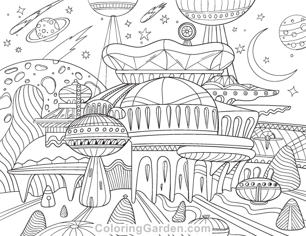 Free Printable Alien City Adult Coloring Page. Download It