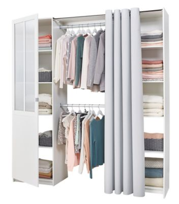 Kit Dressing Atelier Coloris Blanc H 218 Cm X L 200 Cm X P 50 Cm Castorama En 2020 Castorama Porte Vitree Barre De Penderie