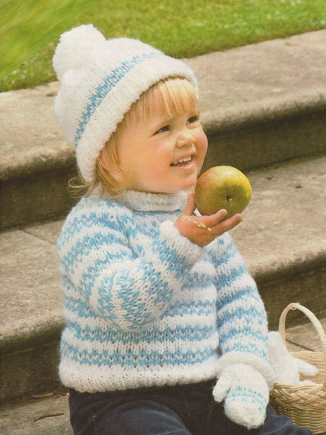 33378a696 Fair Isle Sweater Hat and Mittens Knitting Pattern PDF Boys or Girls ...