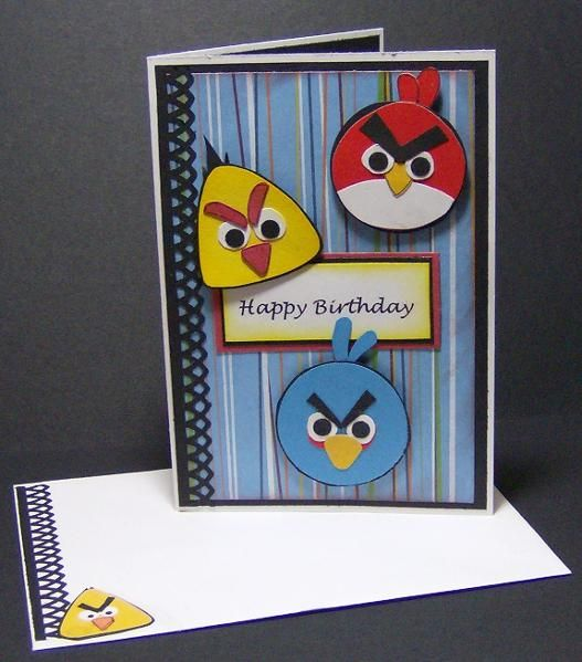 Angry Birds Birthday Card Project On Craftsy Com Kids Birthday Cards Punch Art Cards Kids Cards