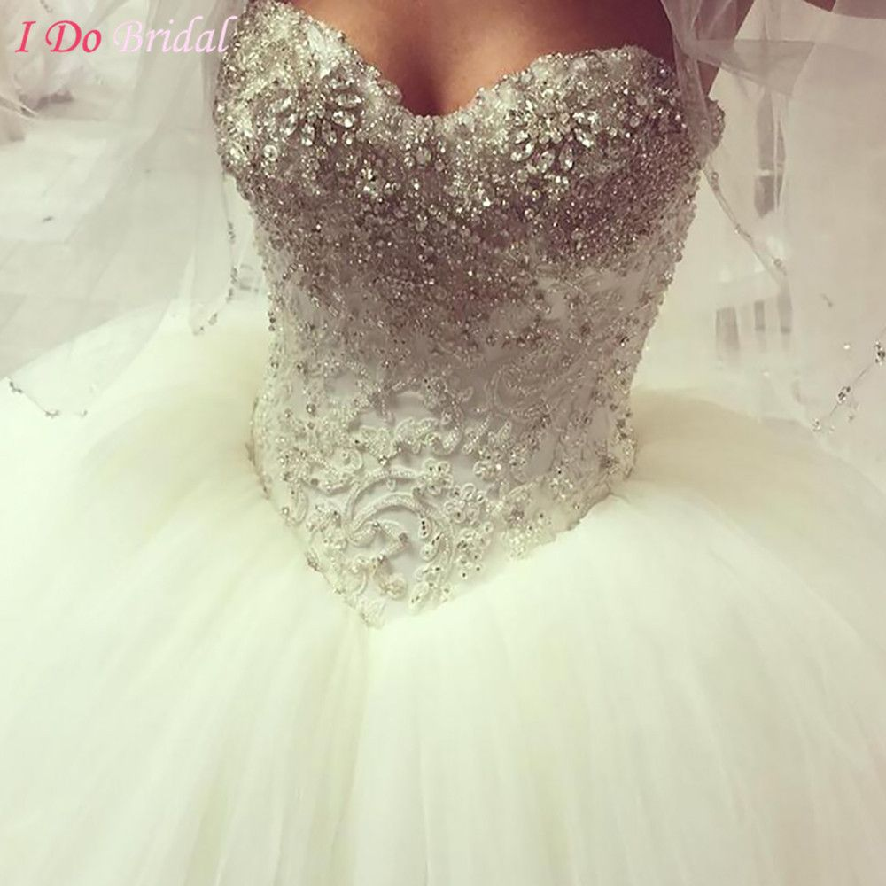 Arab Wedding Gowns Diamond Strapless Couture Crystal Ivory Princess Bridal Dresses Lace Puffy Tulle Ball Gown Corset Z902
