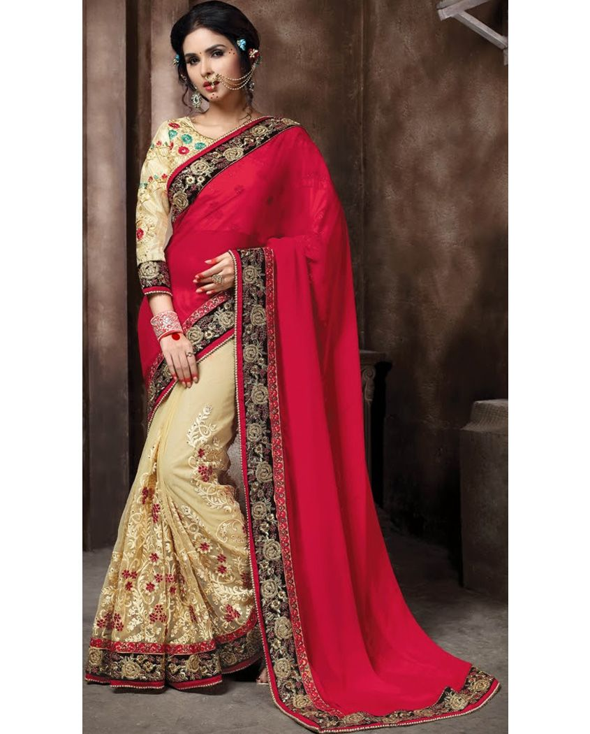 e5093418a31 1. Red and Beige embroidery georgette sari 2. Heavy floral embroidery with  lace border 3. Comes with a matching unstitched blouse